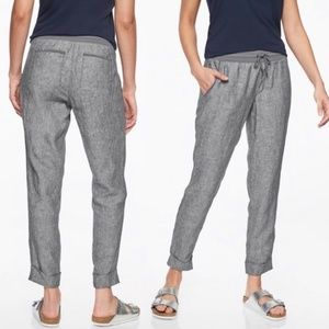 Athleta Bali Gray Linen Ankle Joggers Pants
